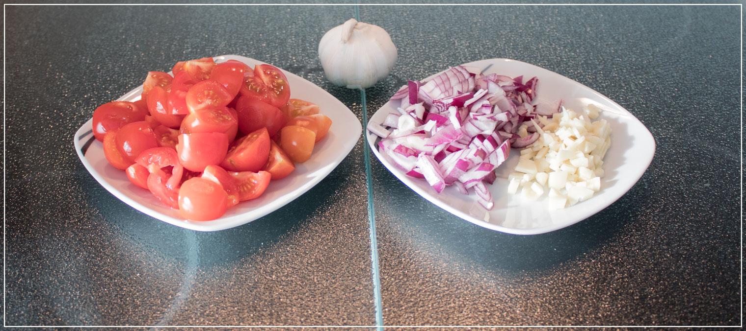 Blattspinat, Knoblauch, Rezept, Tomaten