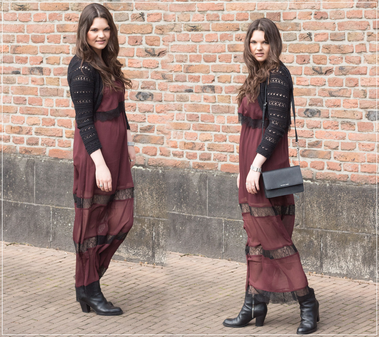 Outfit: Maxidress, Leather Boots and Michael Kors Bag