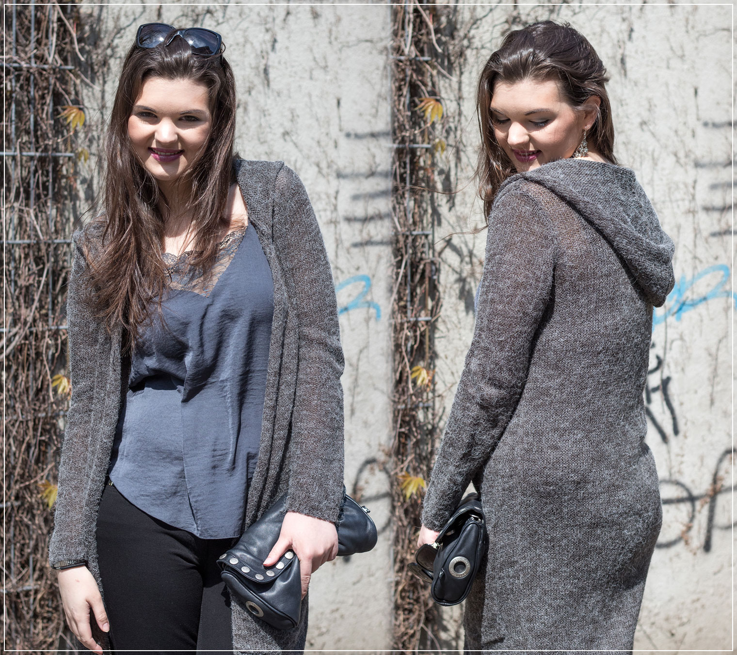 Satin Top, Knitt Coat, Pumps, Polka Dots, Frühlingstrend