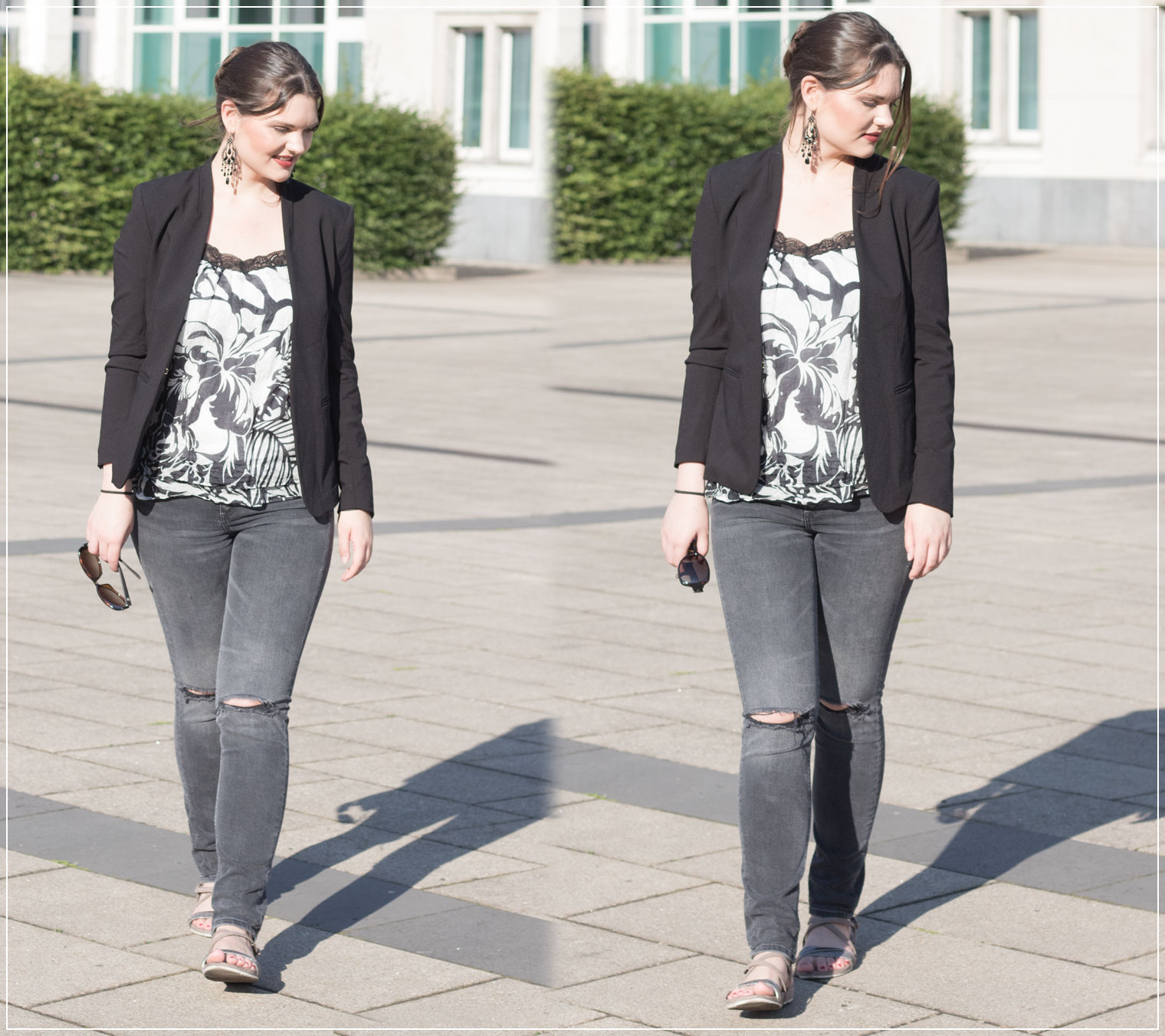 Ripped Jeans, flache Sandalen, Theaterabend, Sommerlook, Sommeroutfit, Eveninglook