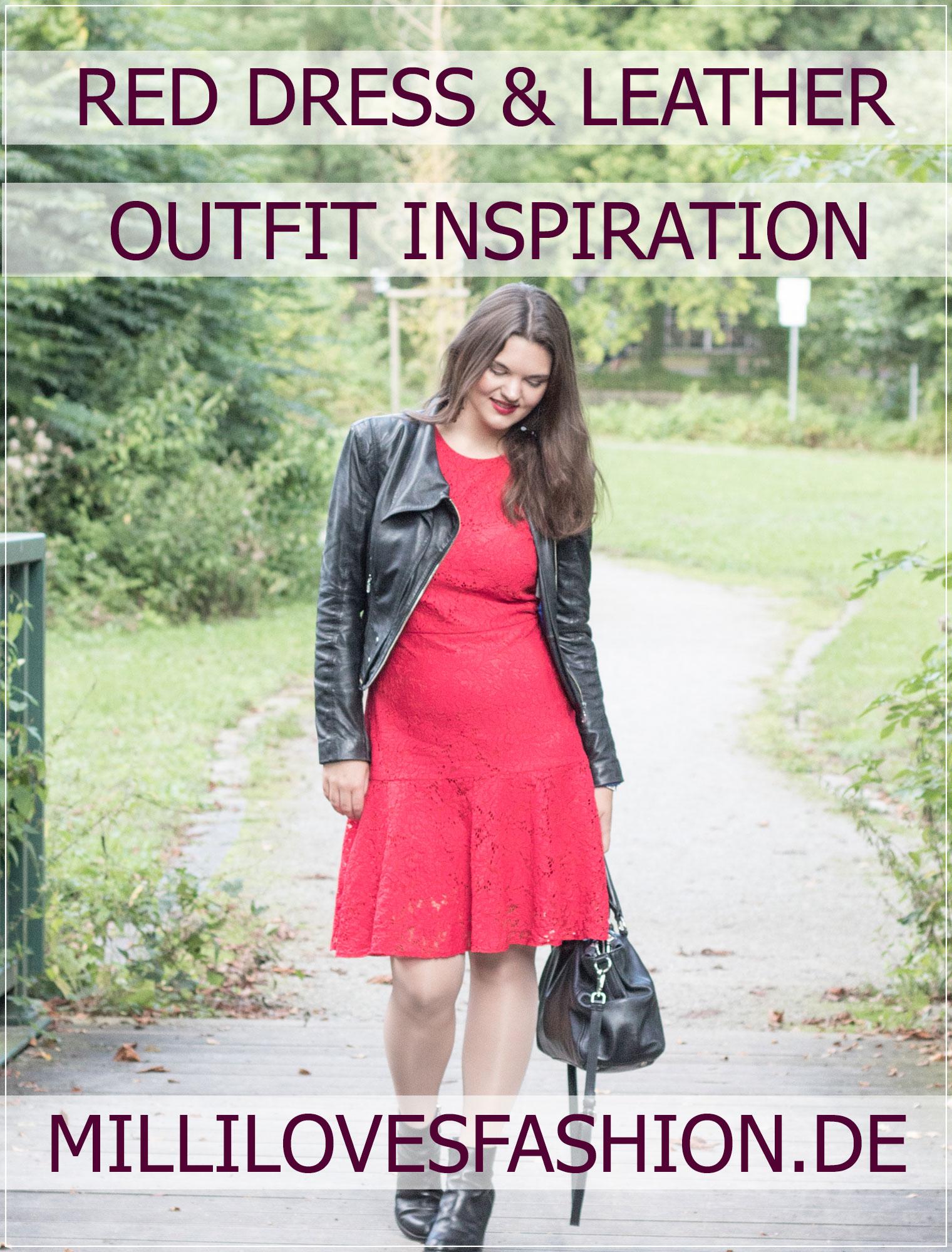 Rotes Kleid, Red Dress, Spätsommer, Herbstlook, Spitzenkleid, Lederjacke