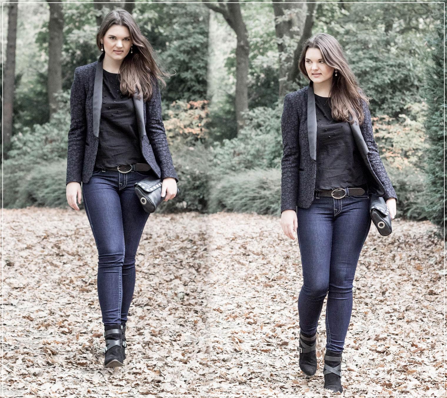 Blazer, Karma, Abendoutfit, eleganter Look, Eveningstyle, Jeanslook, Modebloggerin, Fashionblog, Modeblog, Ruhrgebiet