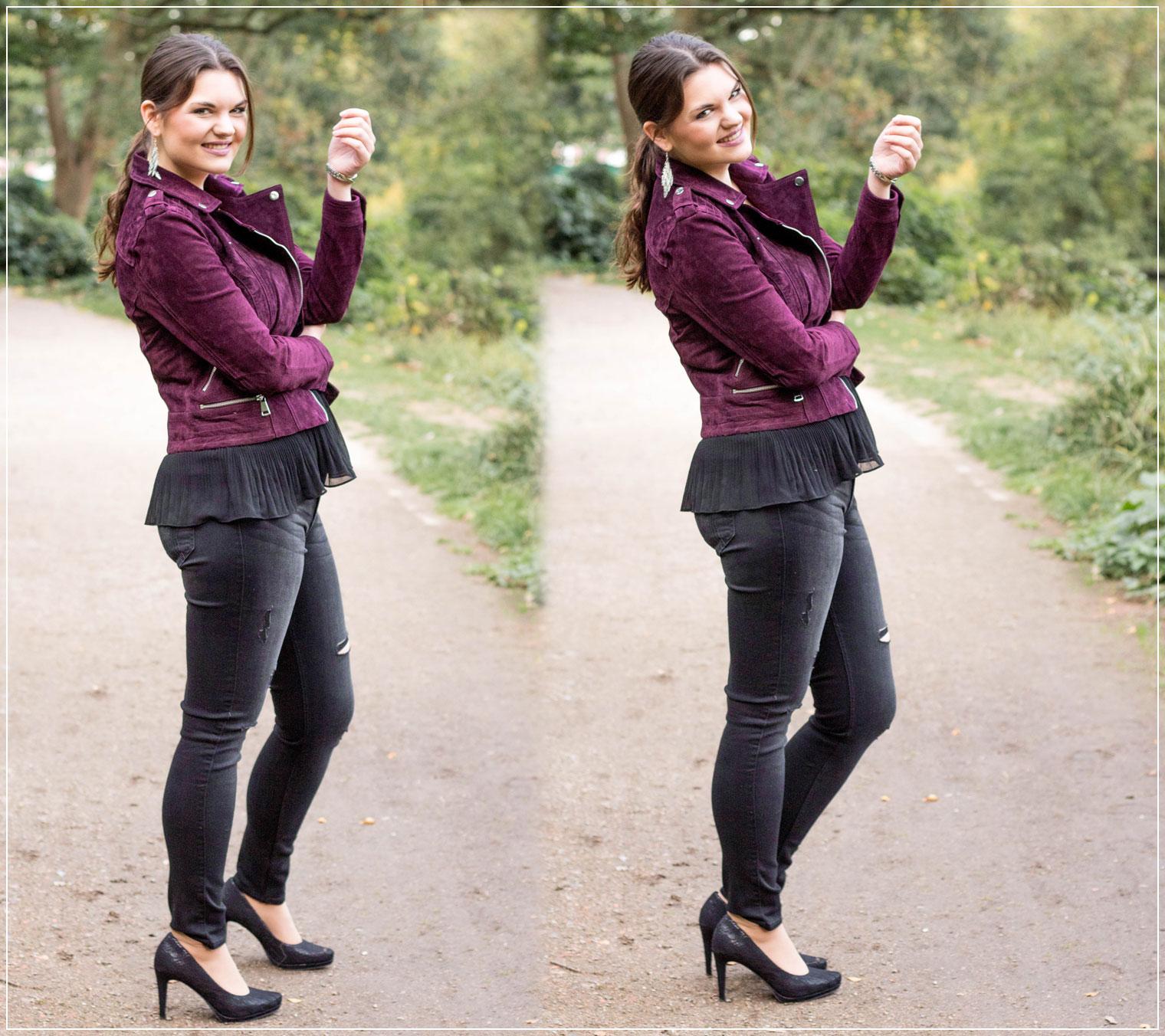 Beerentöne, Wildlederjacke, Material Mix, Trendfarbe, Modetrend, eleganter Style, Herbstoutfit, Herbstlook, Outfitinspiration, Autumnstyle, Abendoutfit, Modebloggerin, Fashionbloggerin, Modeblog, Ruhrgebiet