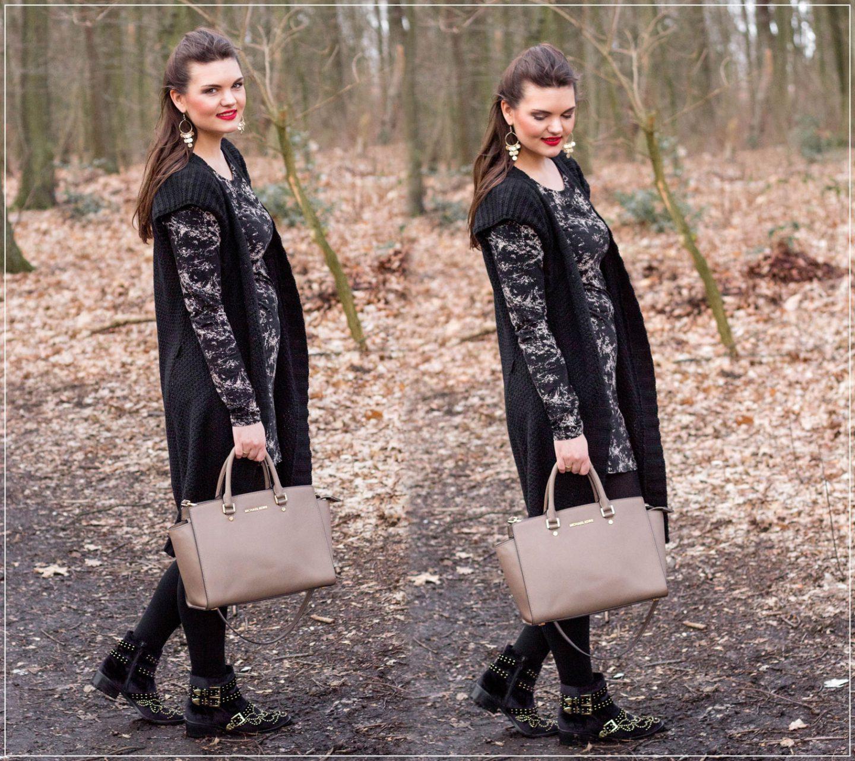Frühlingslook, Basic-Kleid, Strick-Weste, Springstyle, Outfitinspiration, Alltagslook, Modebloggerin, Fashionbloggerin, Modeblog, Ruhrgebiet