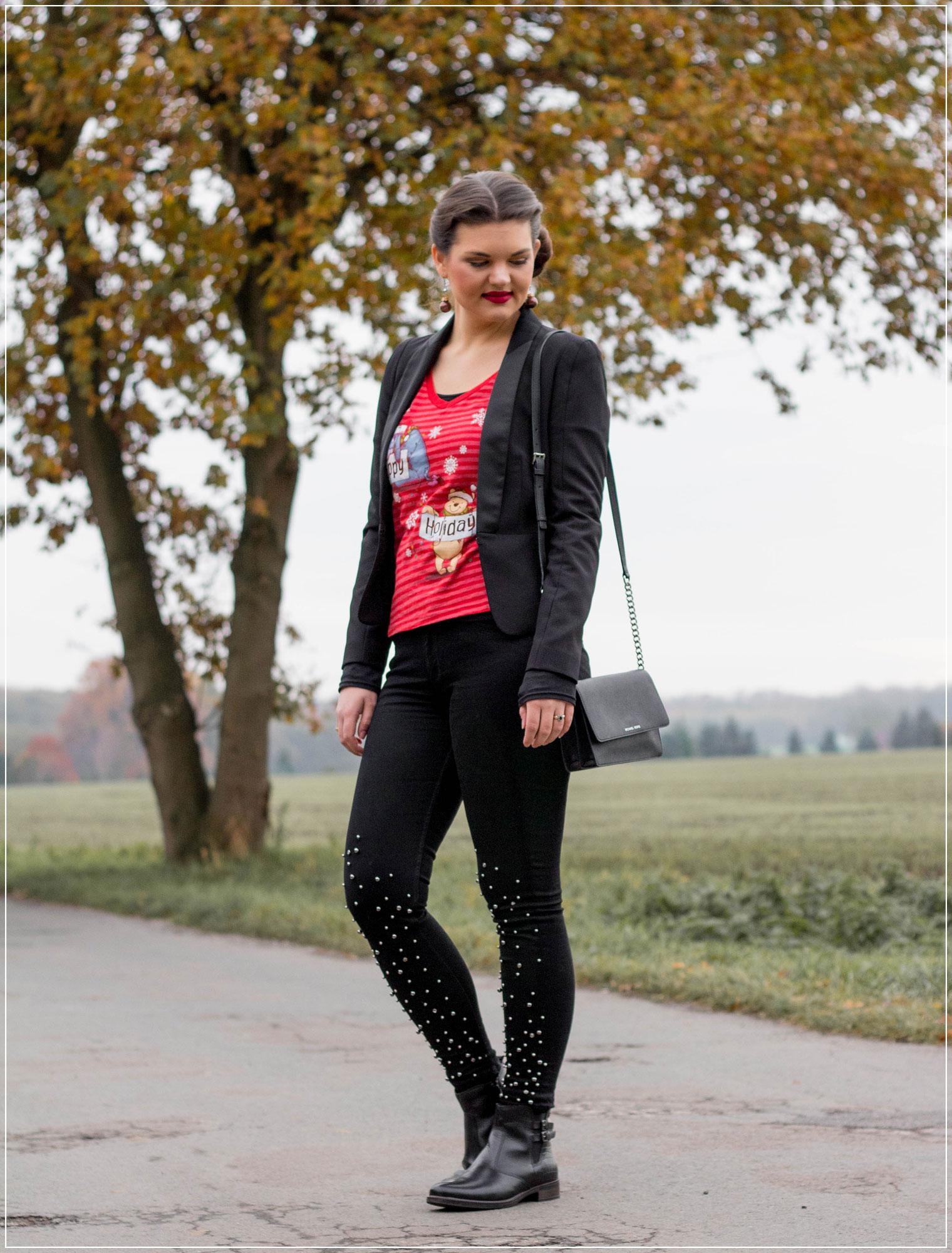Weihnachts-Shirt, Disney-Fashion, Ugly Christmas Sweater, Outfit für Weihnachtsfeier,, Modetrend, Styleguide, Outfitinspiration, Modebloggerin, Fashionbloggerin, Modeblog, Ruhrgebiet