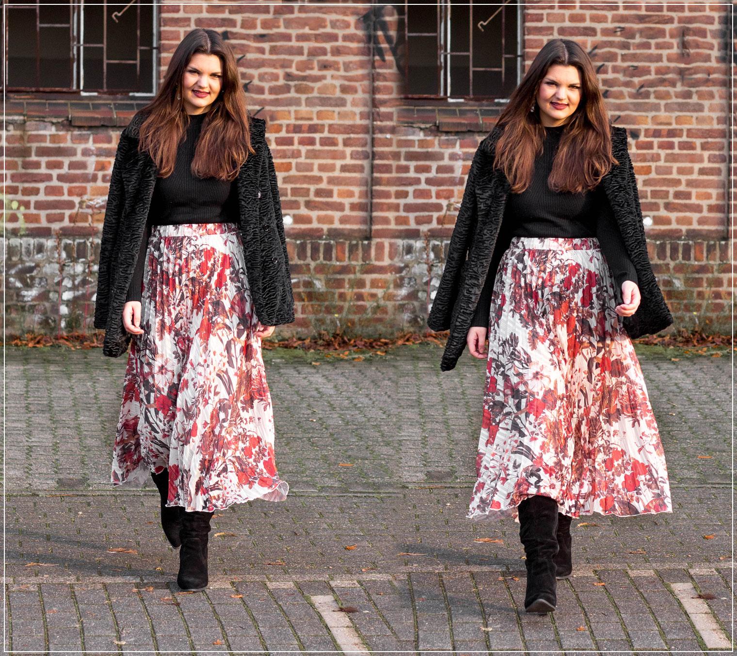 Silvester Outfit, Plissee-Rock, Fake Fur Jacke, Glamour Outfit, Partylook, Silvester-Look, Outfitinspiration, Modebloggerin, Fashionbloggerin, Modeblog, Ruhrgebiet