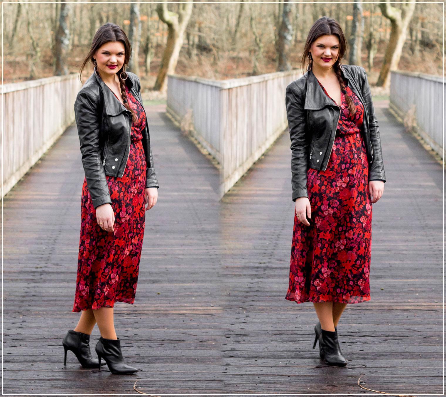 Blumenkleid und Leder kombinieren, Blumenmuster, Keypiece, Fruehlingslook, Spring Style, Modetrend, Styleguide, Outfitinspiration, Modebloggerin, Fashionbloggerin, Modeblog, Ruhrgebiet