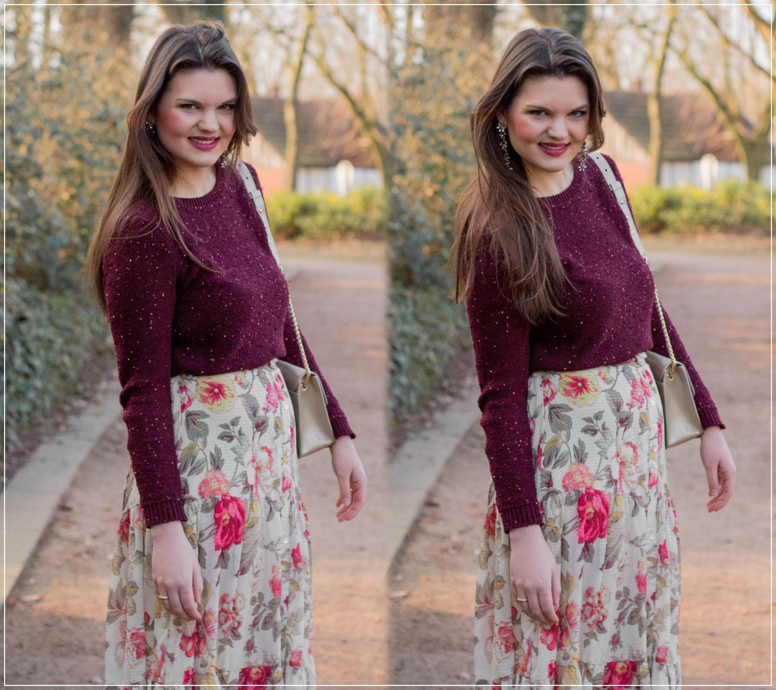 Modetrend, Strick im Frühling kombinieren, Blumenmuster, Maxirock, Vintagelook, Fruehlingslook, Spring Style, Outfitinspiration, Modebloggerin, Fashionbloggerin, Modeblog, Ruhrgebiet