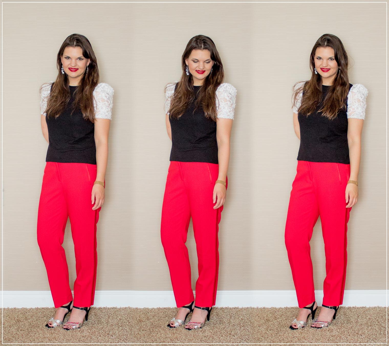 Outfitinspiration aus roter Stoffhose und T-Shirt mit gepufften Aermeln