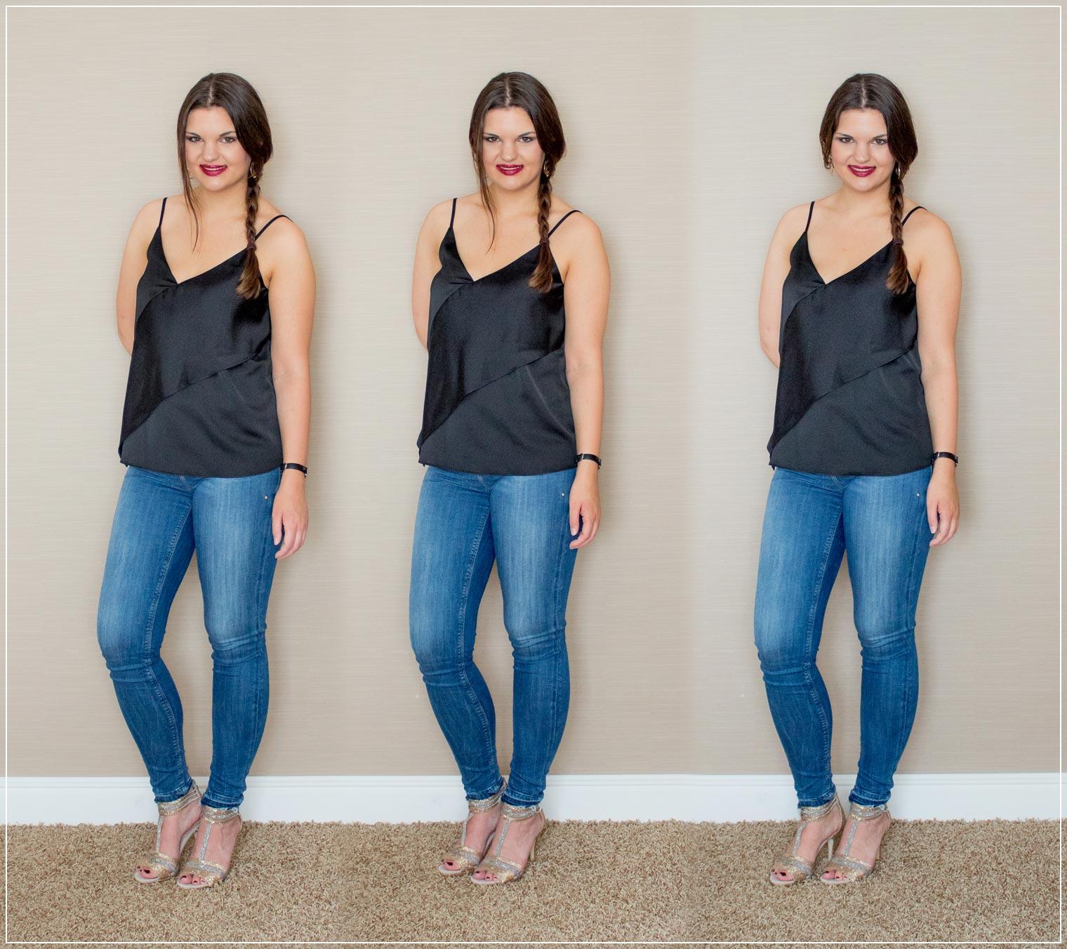 Outfitinspiration aus Jeans und Satin-Top mit High Heels