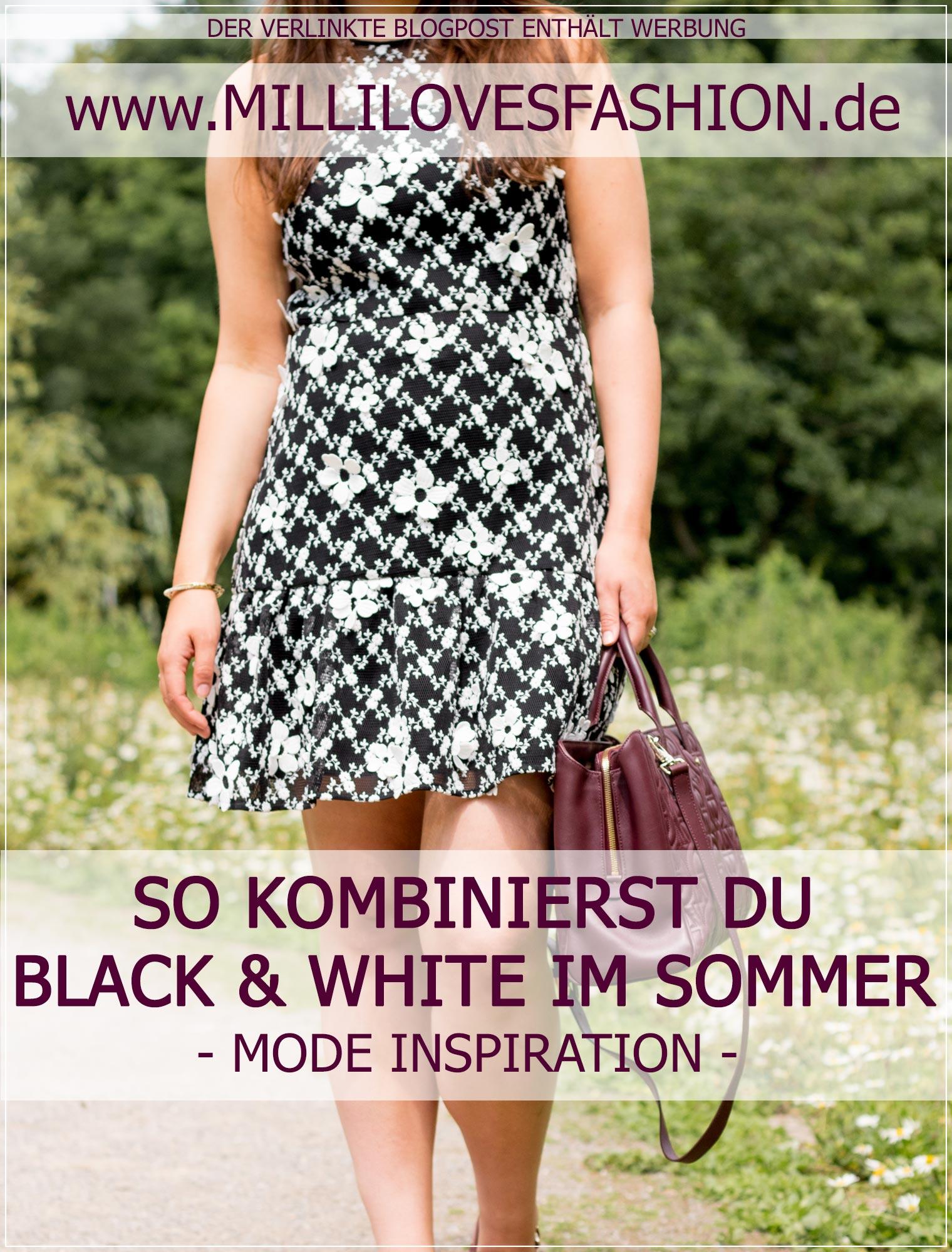 Ein eleganter Sommerlook mit einem Sommerkleid in schwarz und weiß mit weinroten Akzenten