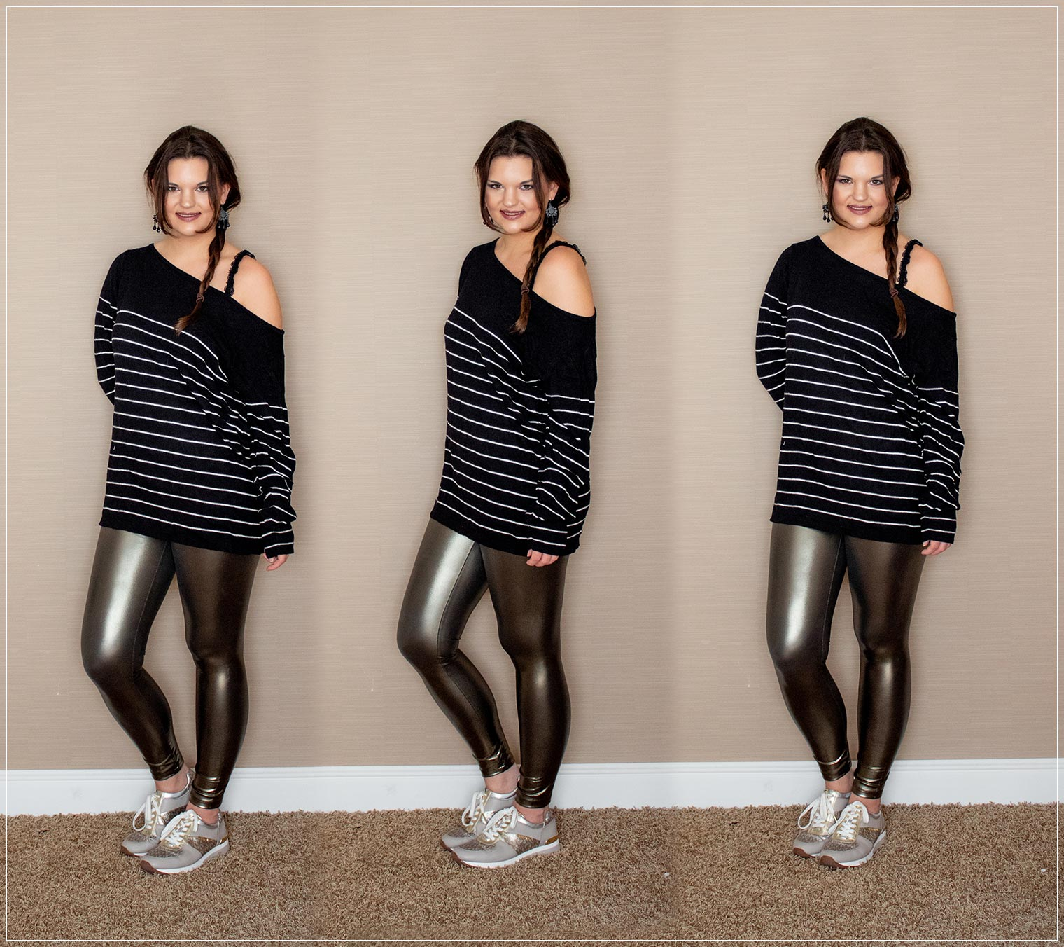 Leggings in metallic Optik und Oversized Pullover als Herbstlook