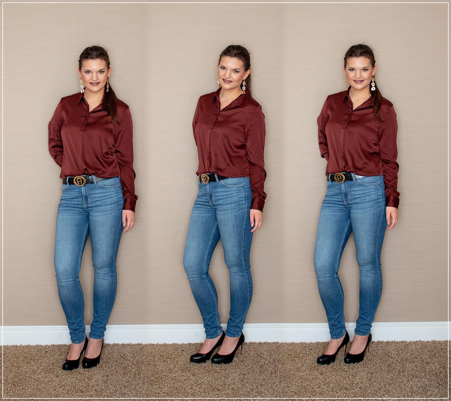 Jeans und Satin-Bluse als Outfitinspiration im Herbst