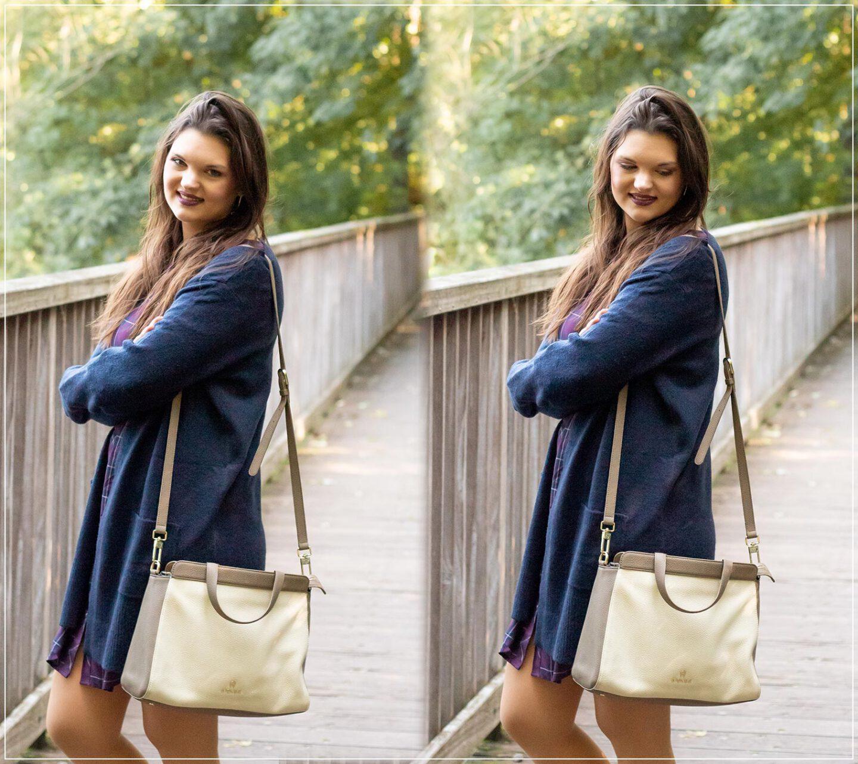 Ein kuscheliger Cardigan kombiniert mit einer eleganten Tasche als Stilbruch