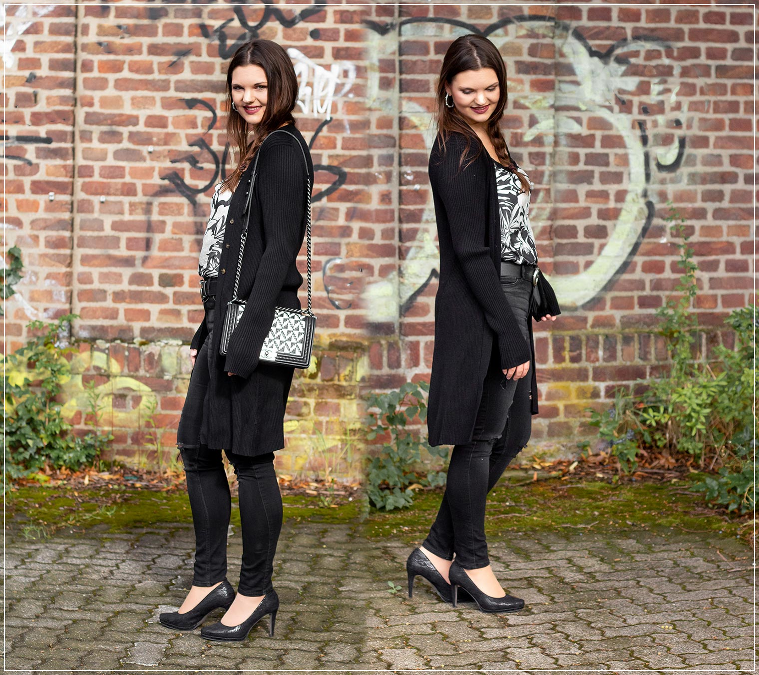 Herbstlicher Black and White Look mit Satin-Top