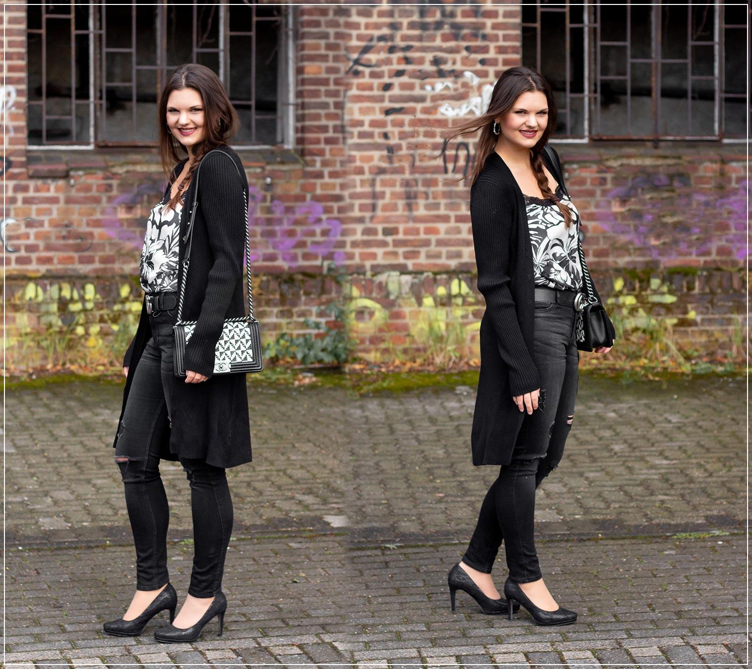 Herbstlook mit Satin-Top und Ripped Jeans