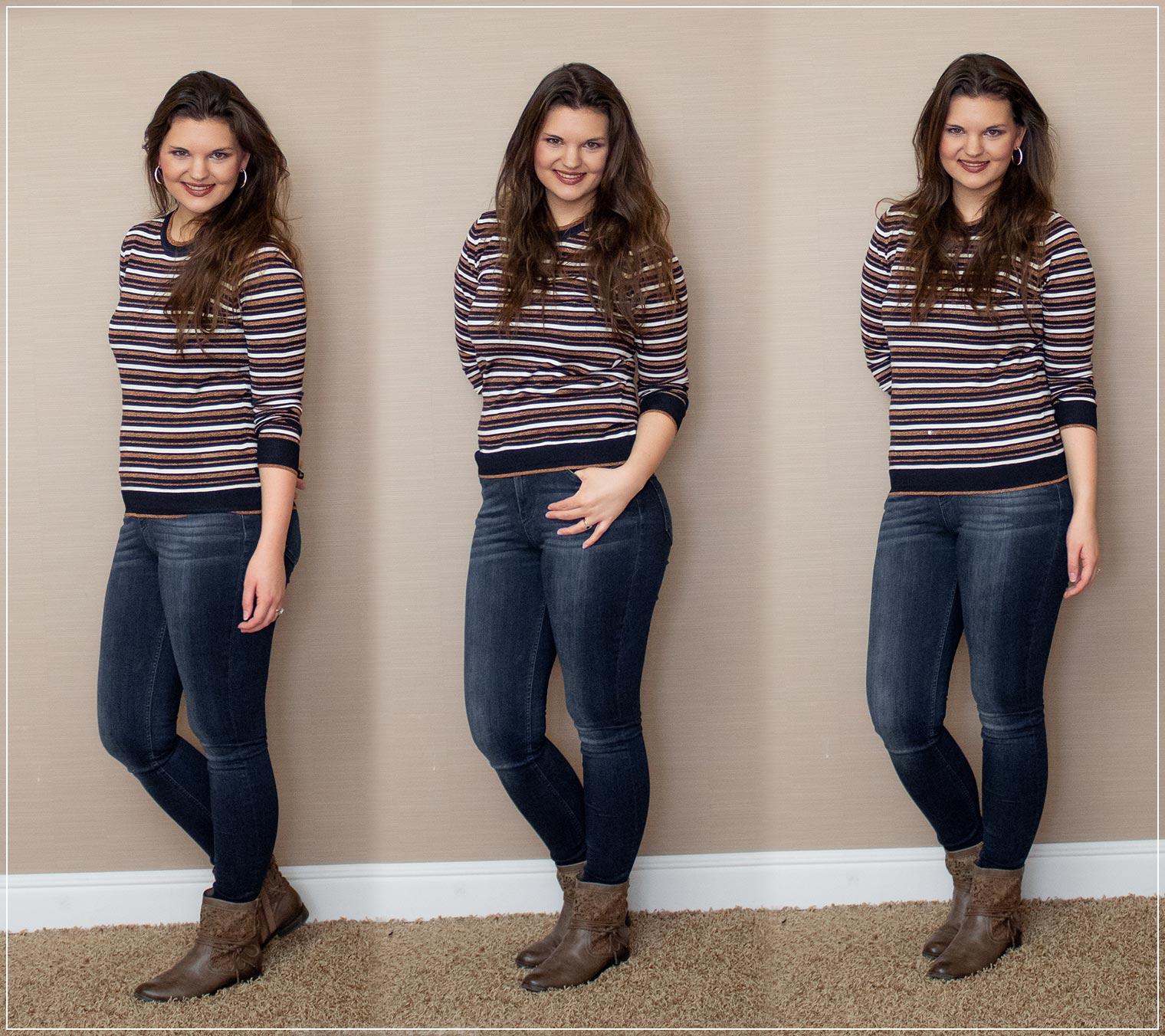 Jeans und Pullover im Winter kombinieren