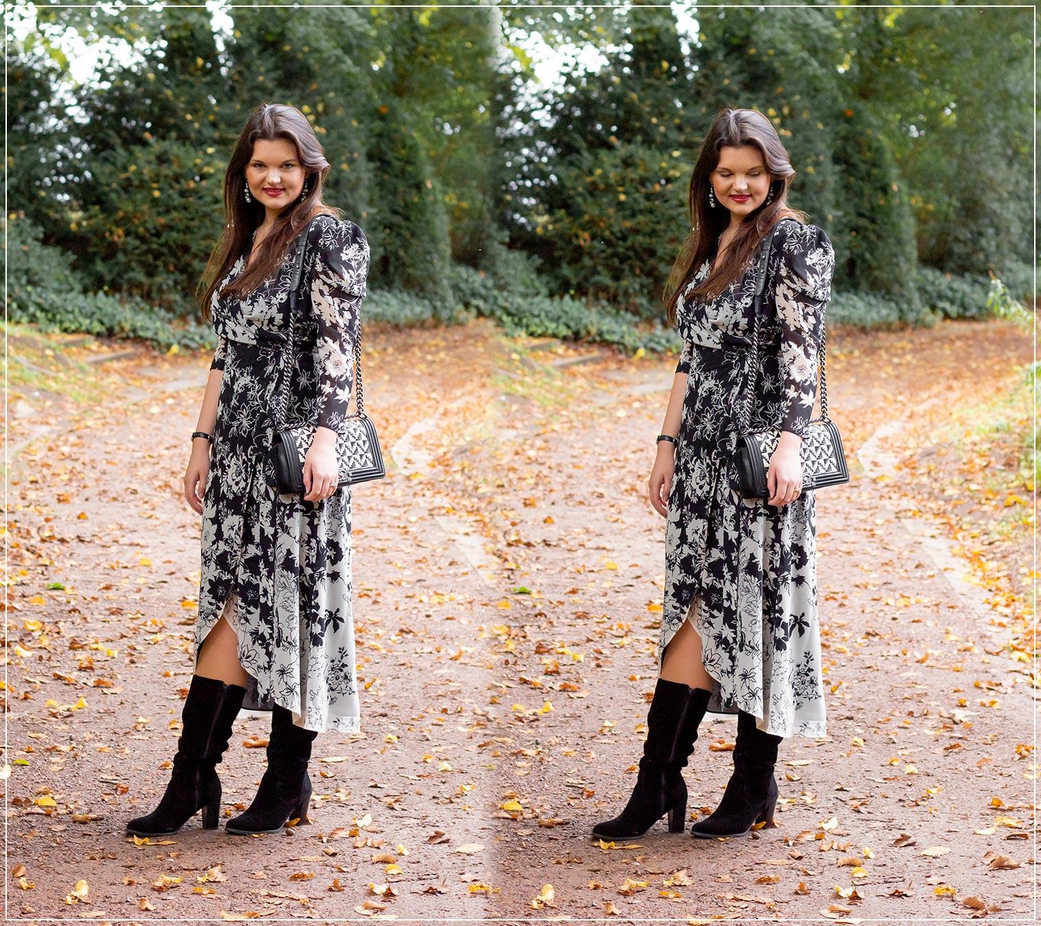 Herbstlook aus Wickelkleid mit Blumenprint und Stiefeln