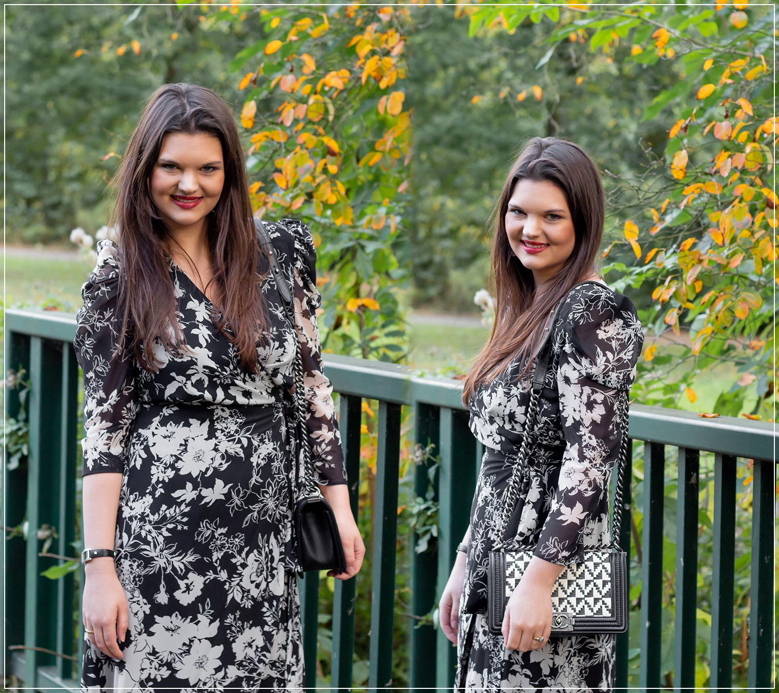 So stylst du ein Wickelkleid in Black and White Look im Herbst