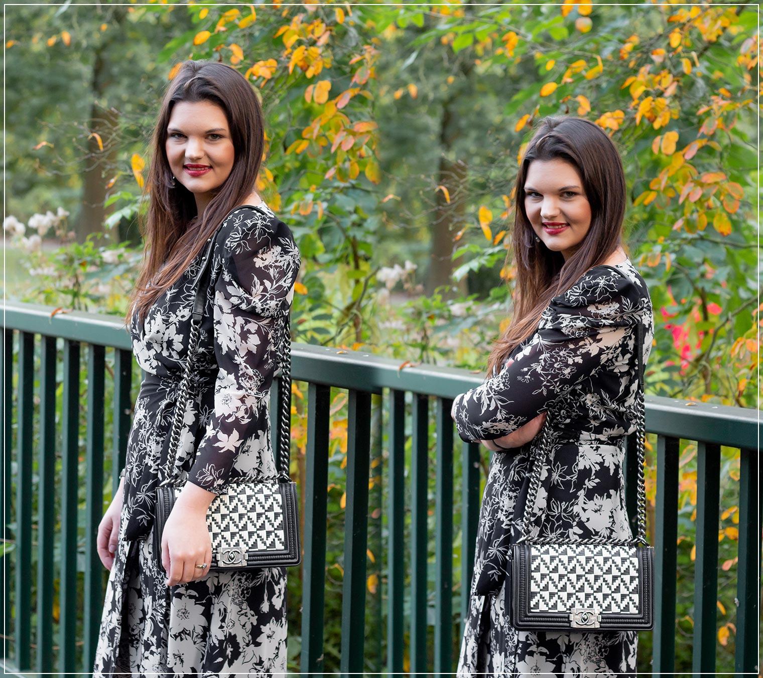 So kombinierst du ein Wickelkleid im Herbst