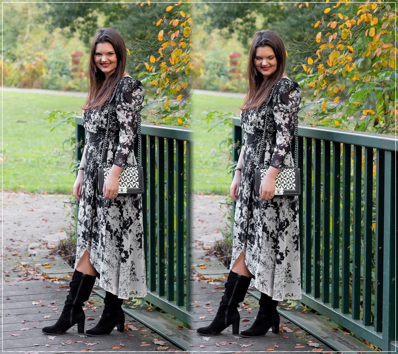 So kombinierst du Wickelkleider mit Blumenprint im Herbst