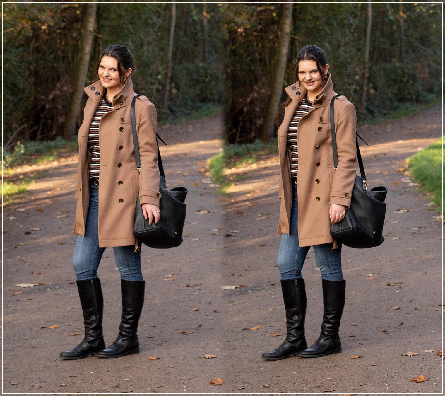 Winterlook mit Wollmantel und Jeans