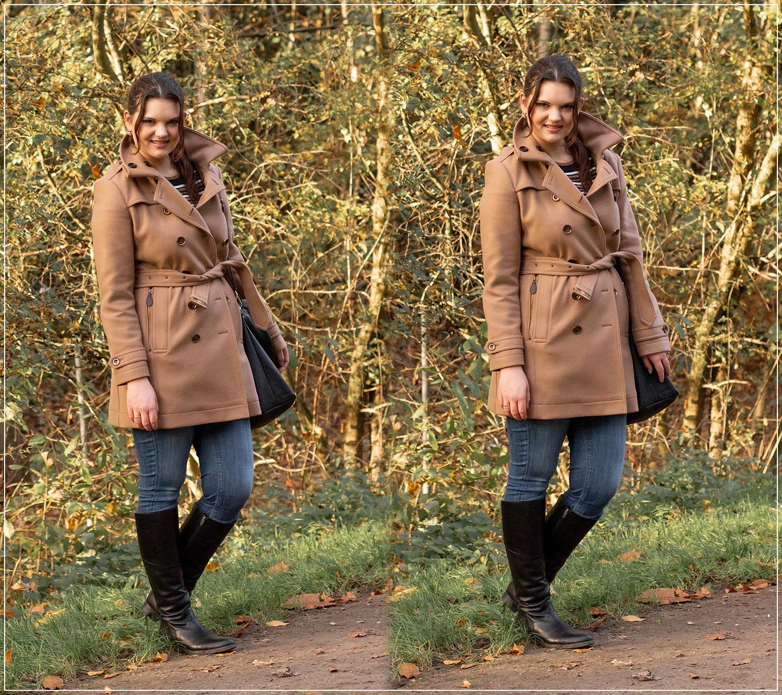 Winterlook aus Wollmantel und Jeans
