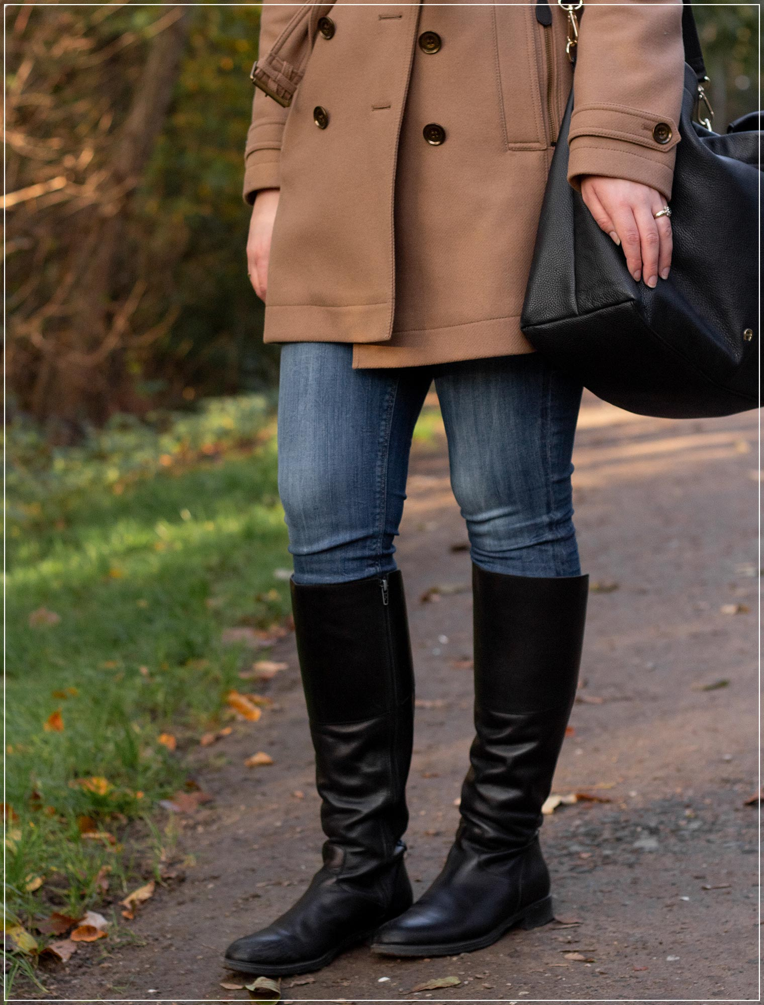 Wollmantel in Kombination mit Jeans
