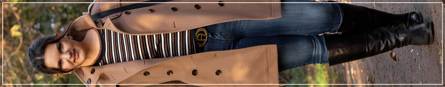 Winterlook mit Jeans und Camelcoat