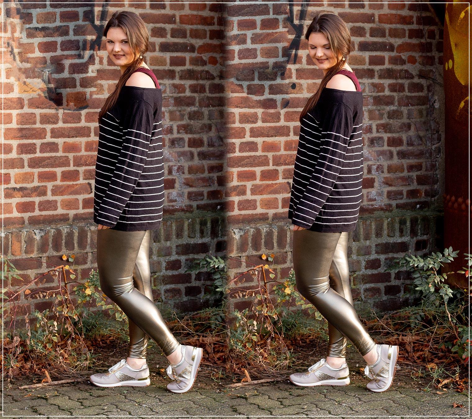 Ein bequemer Silvester-Look fuer zu Hause mit Leggings und Pullover