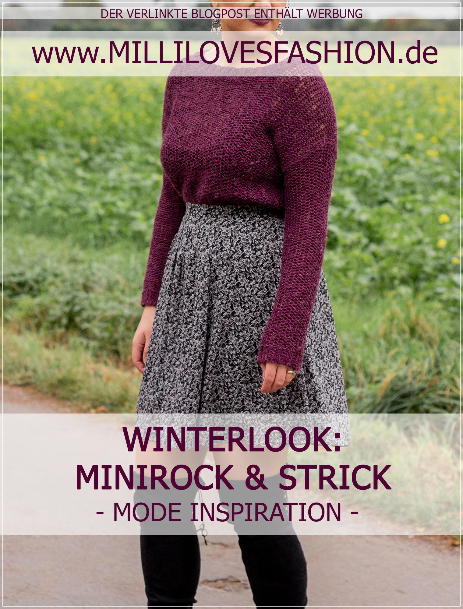 Strick, Minirock und Overknees im Winter kombinieren