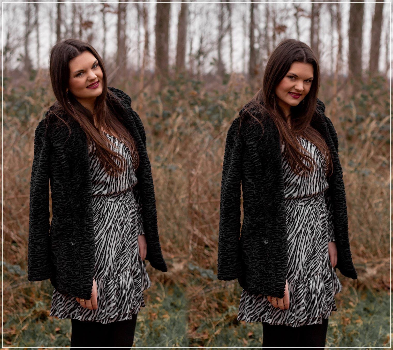 Fake Fur und Kleid zu einem Winterlook kombinieren