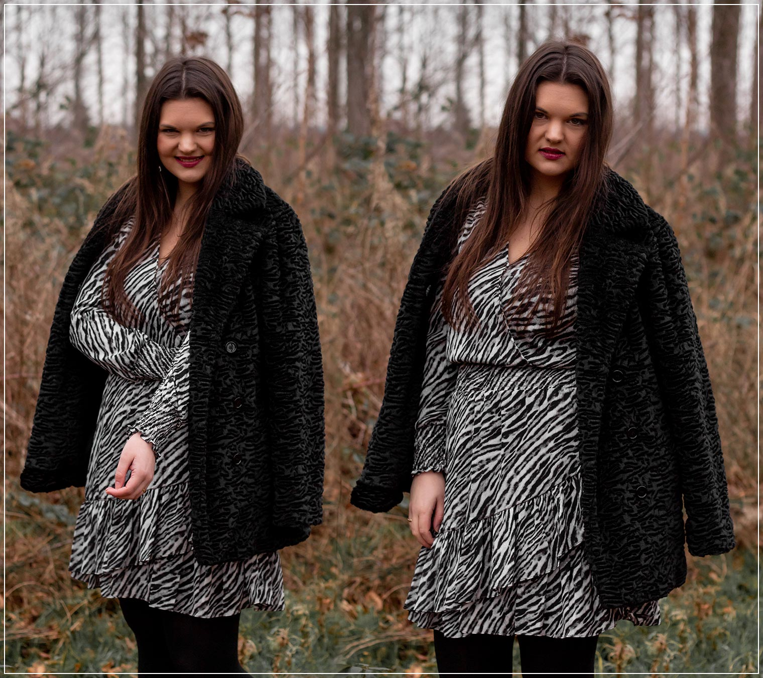 Animal-Print und Fake Fur als Winterlook stylen