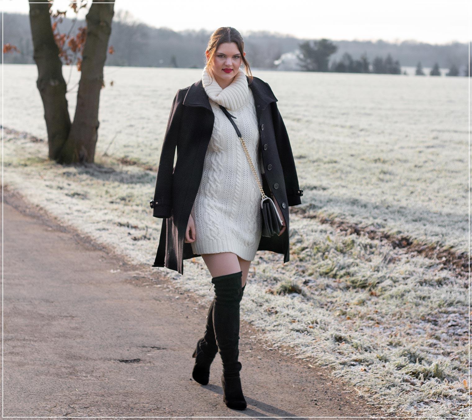 Wollmantel und Strickkleid als Basic im Winter