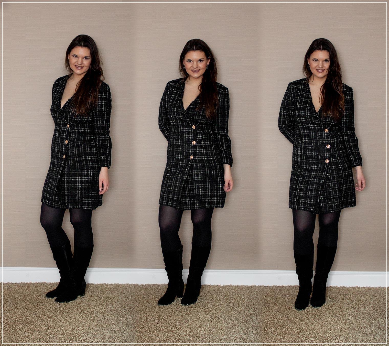Outfit mit Blazerkleid und Stiefeln