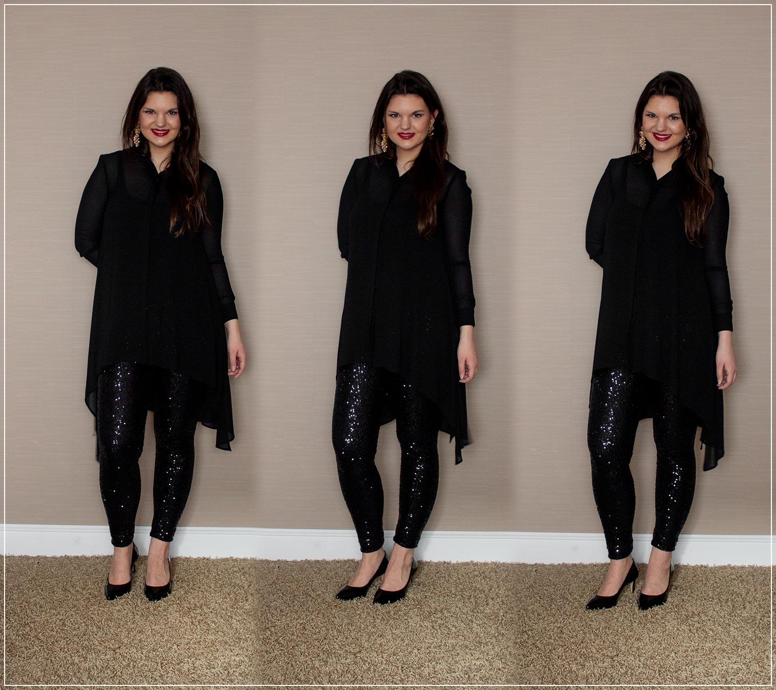 Outfit aus Pailettenhose und Longbluse