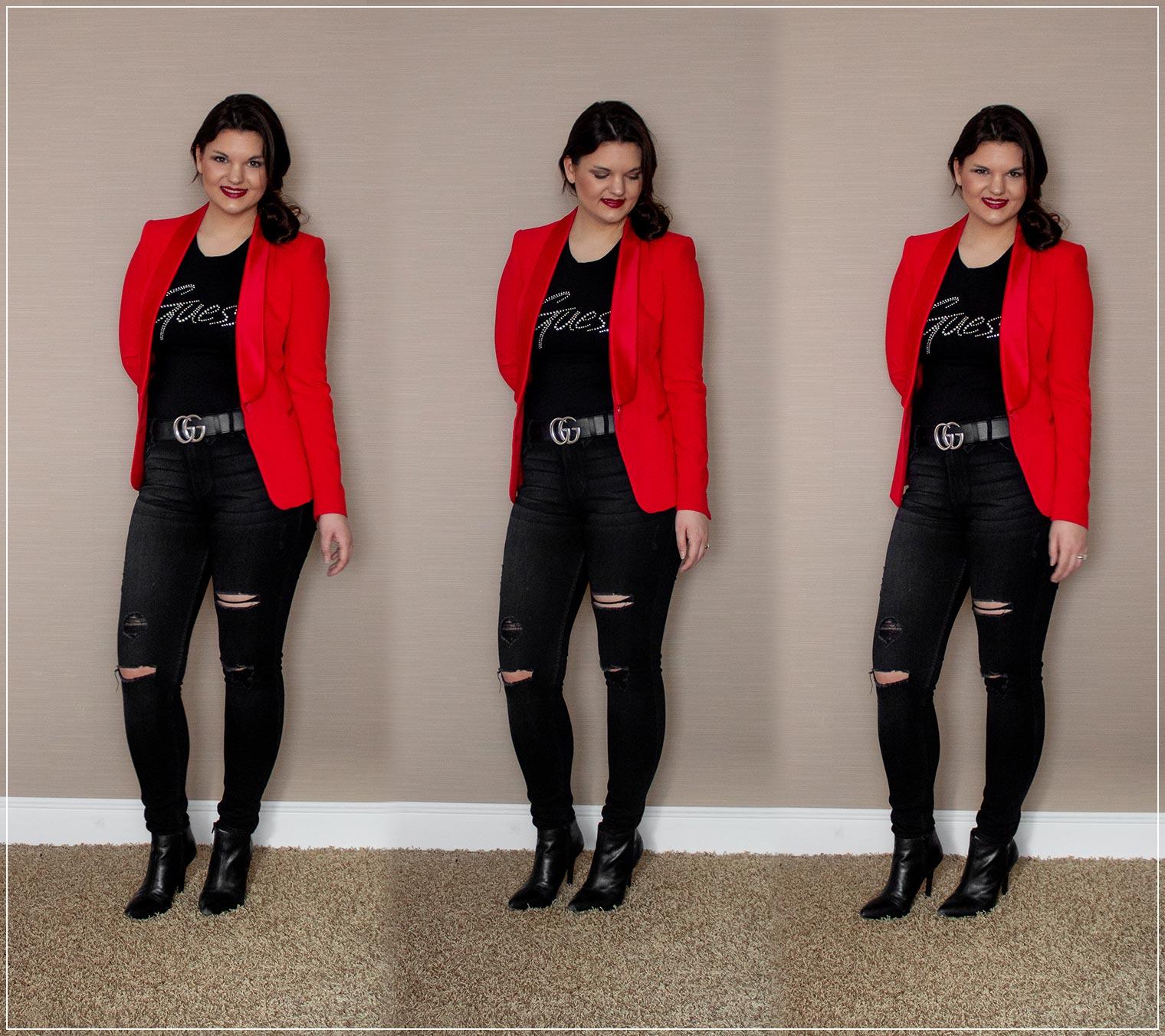 Outfit mit Ripped Jeans, Blazer und Statement Gürtel
