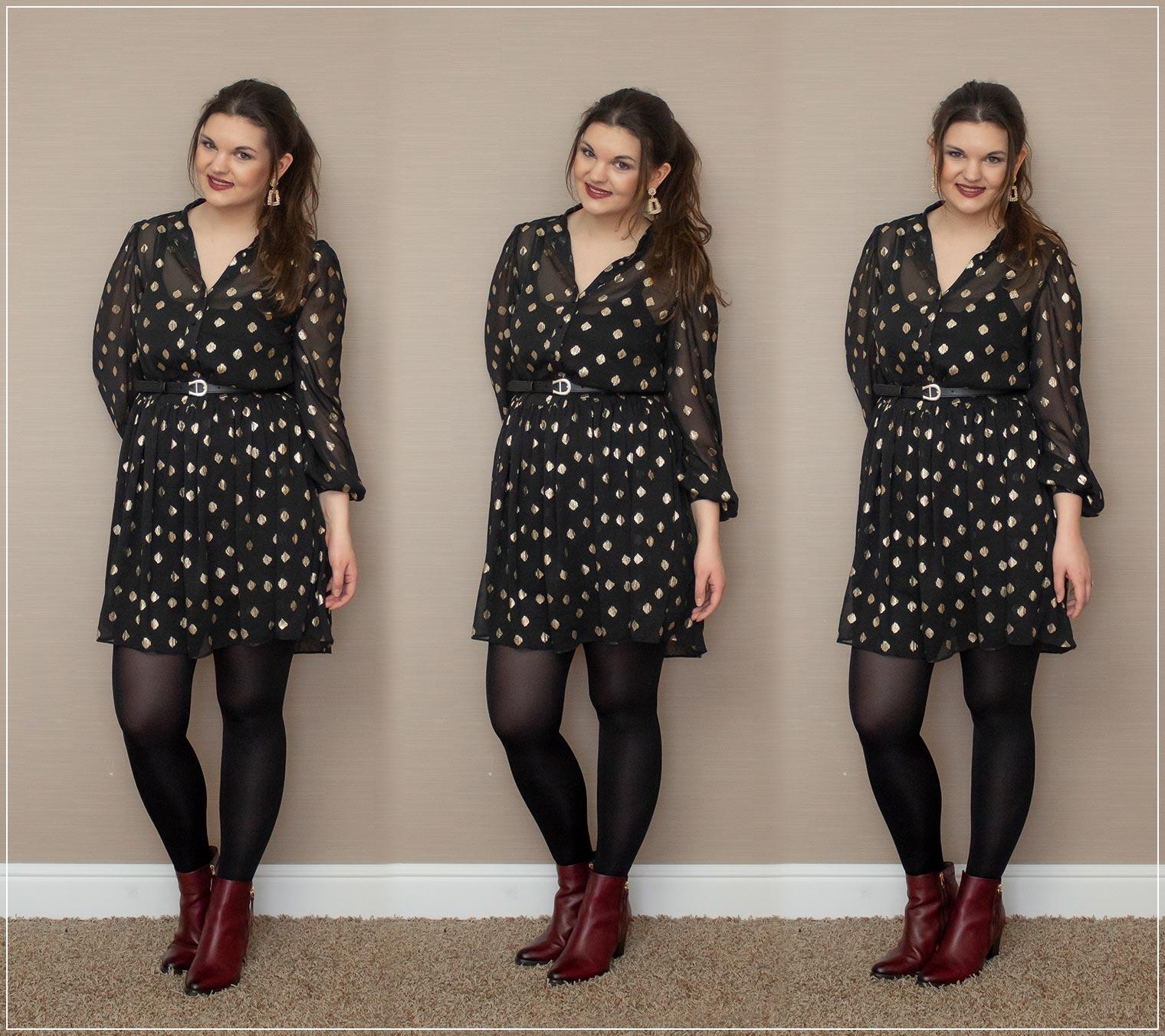Kleid mit Taillengürtel und Stiefelletten kombiniert