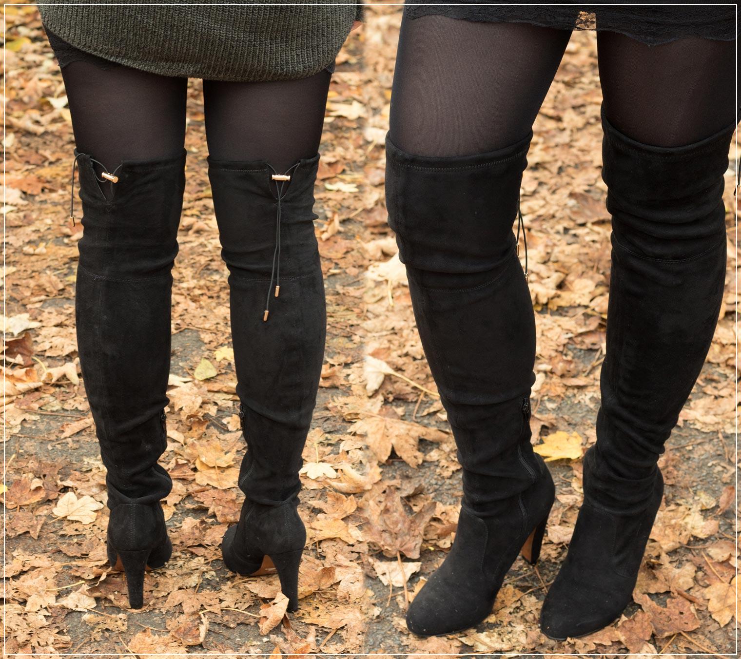 Overknees in Wildlederoptik im Herbst