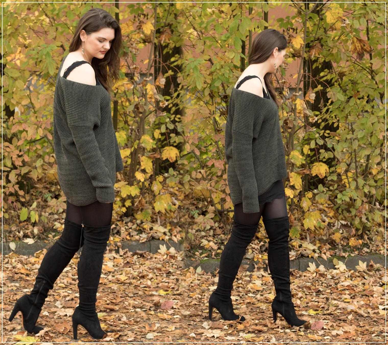 Herbstlook mit Overknees und Layering