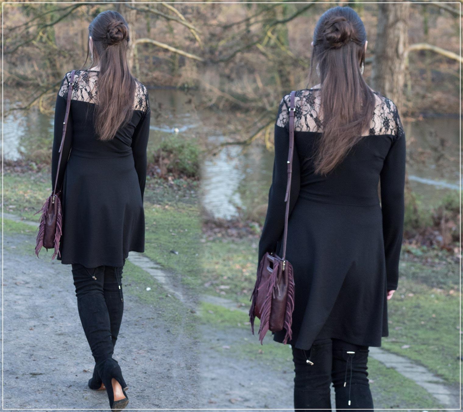Silvesterlook mit Overknees und Skaterkleid