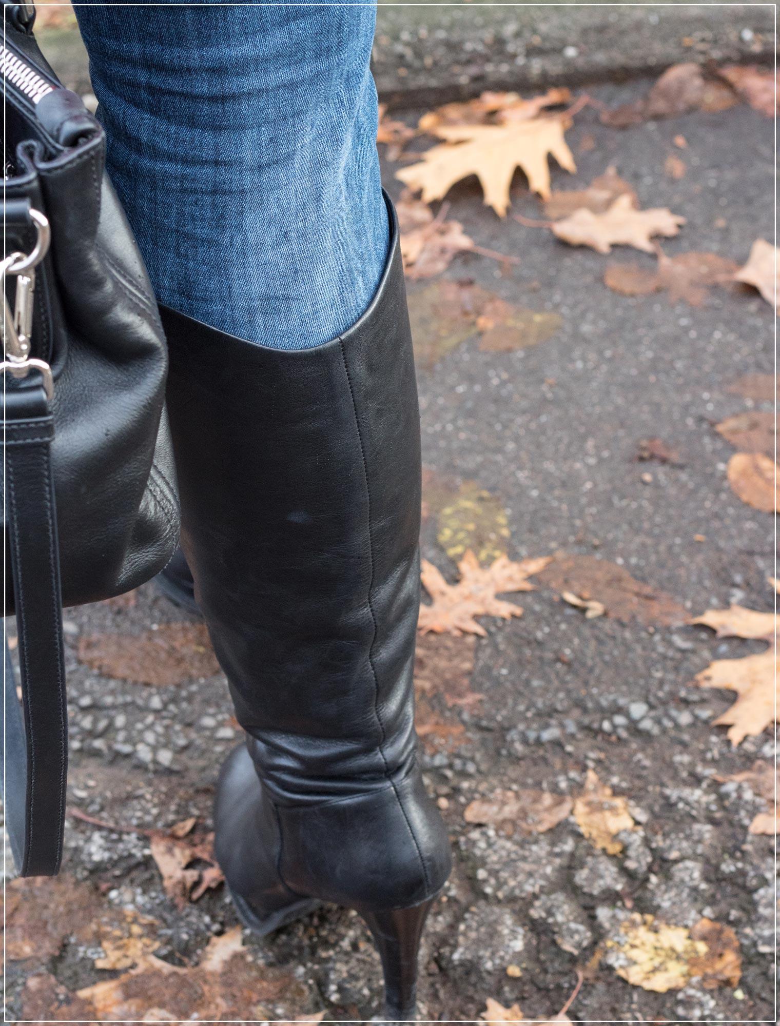 klassische Lederstiefel zum Wintergewand