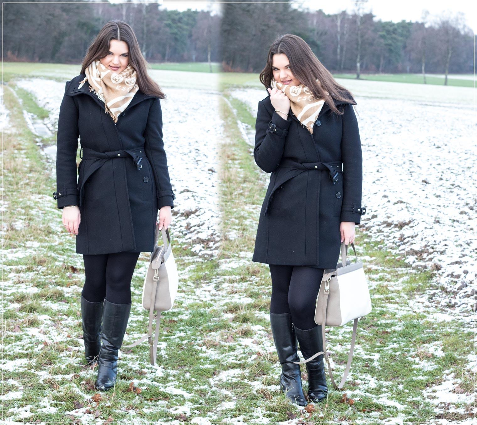 klassischer Winterlook mit Burberrymantel