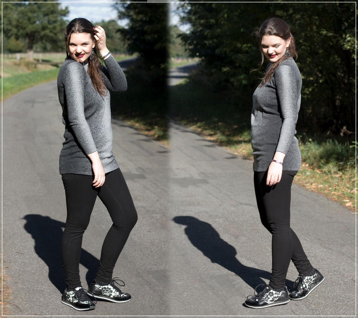 Herbstlook mit Sweatpullover und Sneaker