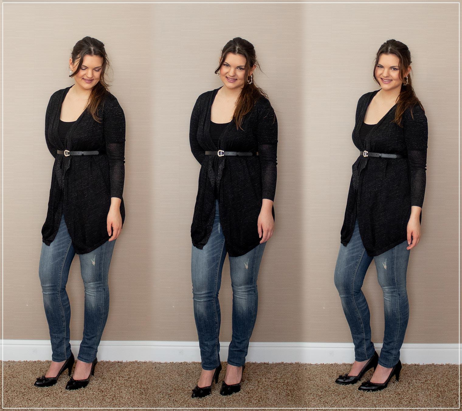 Outfit aus Strickjacke mit Tailienguertel und Jeans