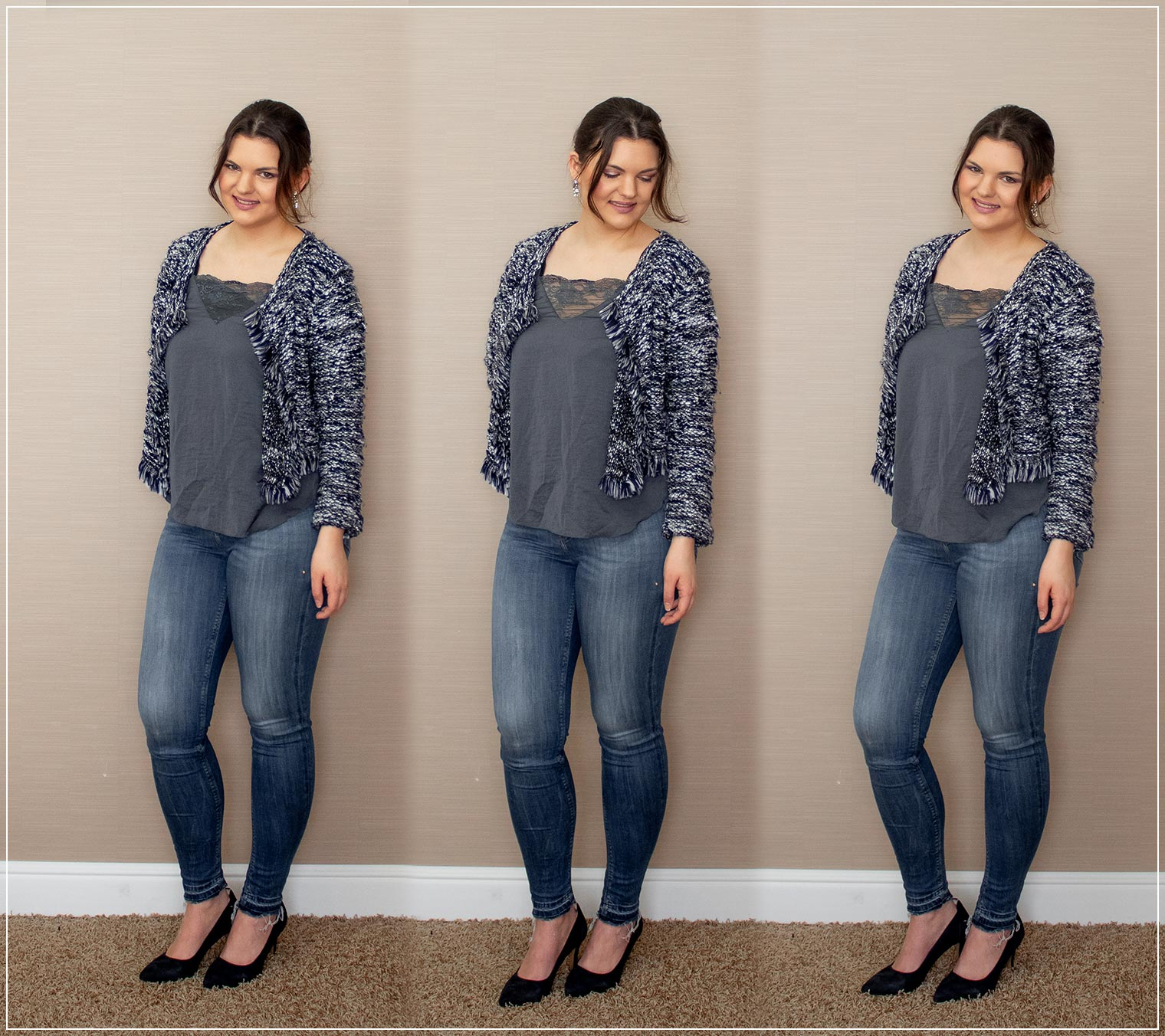 Outfit aus Jeans, Lace Top und Strickjacke