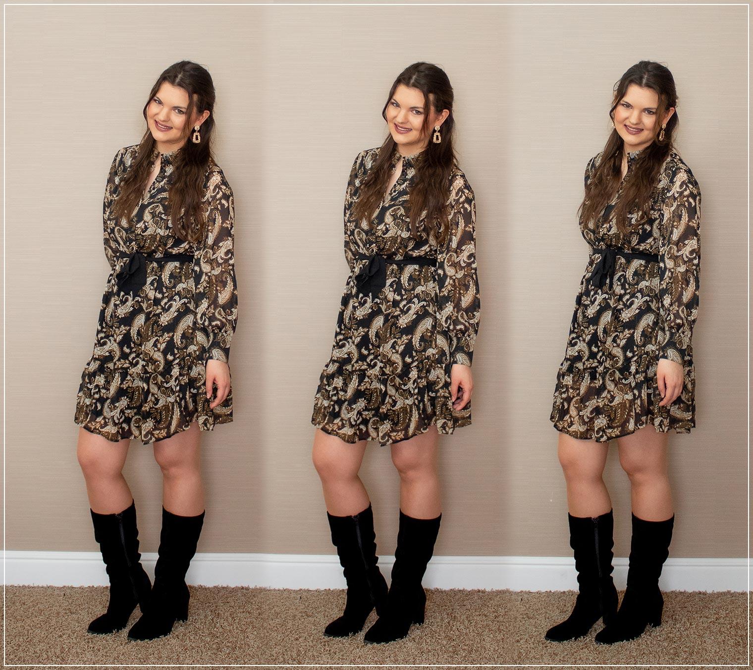 Outfitinspiration aus Kleid und Stiefeln
