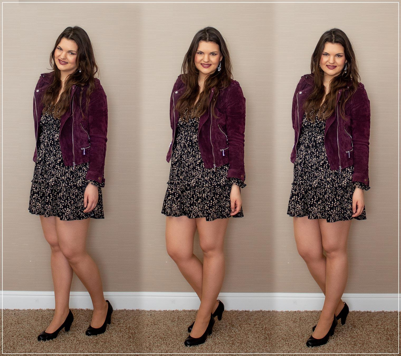 Outfit aus Kleid und Lederjacke