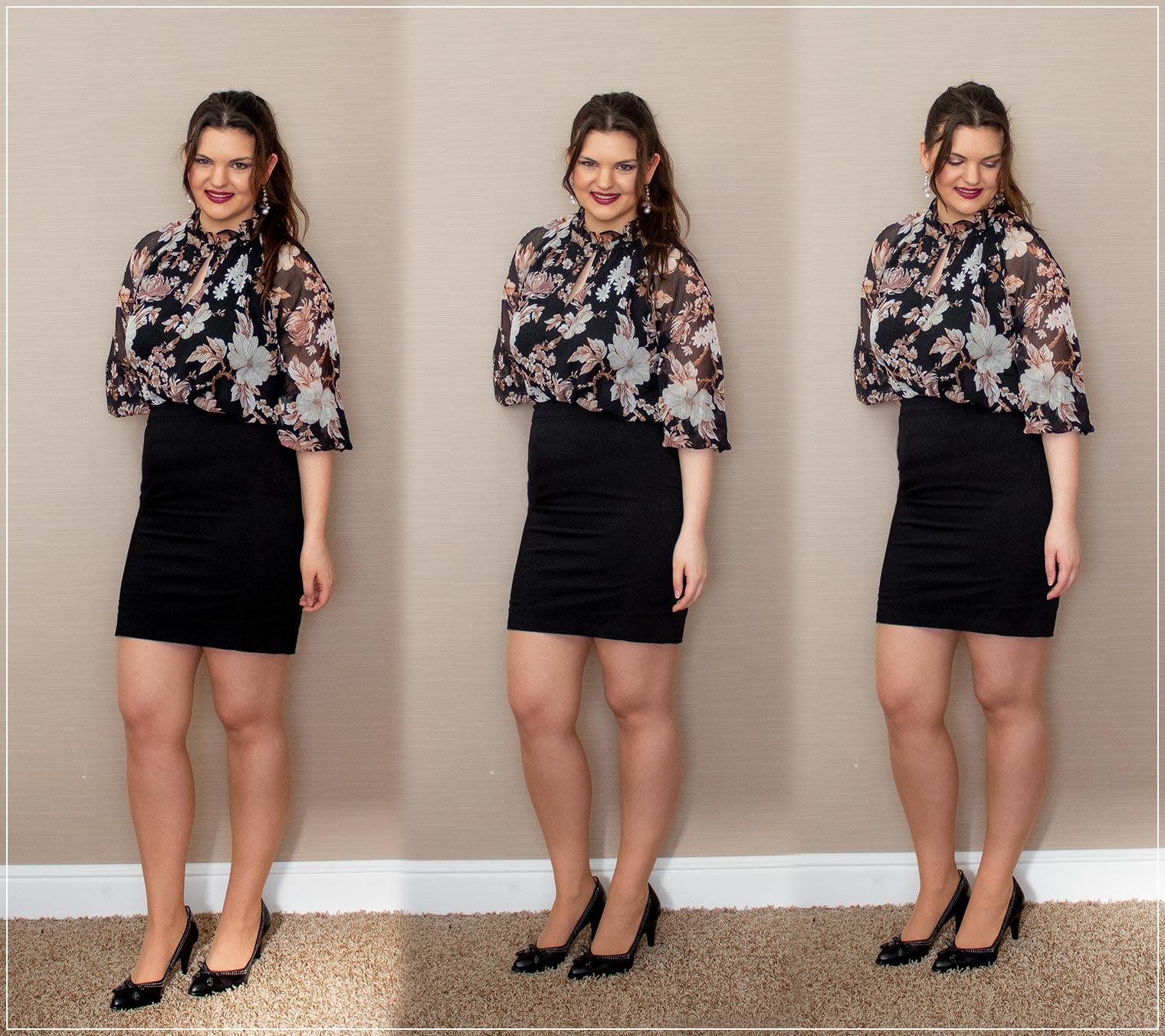 Outfit aus Rock und Bluse mit Blumenprint