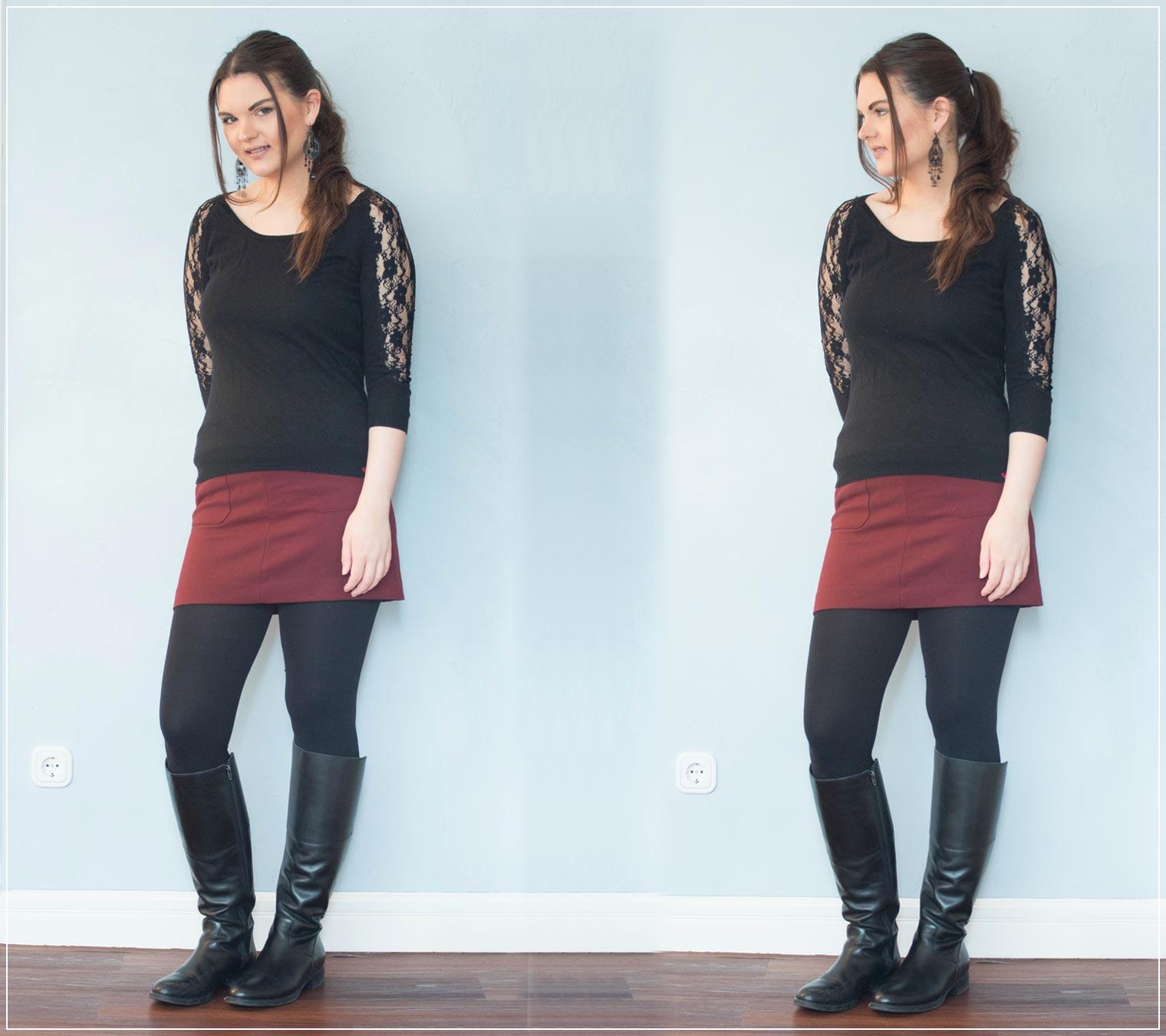 Outfit aus Pullover mit Spitzendetails und Rock mit Stiefeln